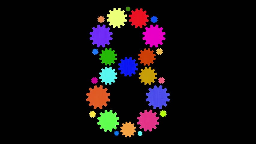 Multicolored moving cogs shaping a number 8 | Shutterstock HD Video #32976058