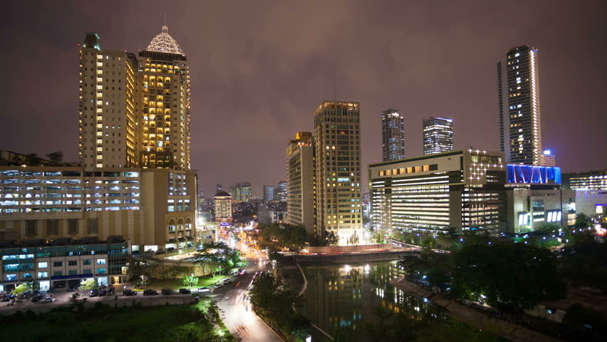 Timelapse view of Jakarta City center at Night