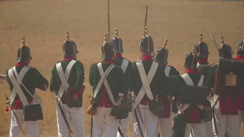 CRIMEA, UKRAINE – SEPTEMBER 29, 2012: Russian troops on war. Historical reenactment of Battle of Alma (Crimean War 1853 - 1856) on a historical festival in Crimea.
