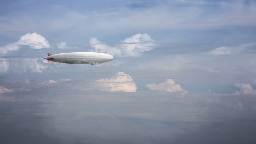 Legendary huge zeppelin airship on sky with clouds. Flying balloon animation. Big dirigible, spinning propellers and rudder.