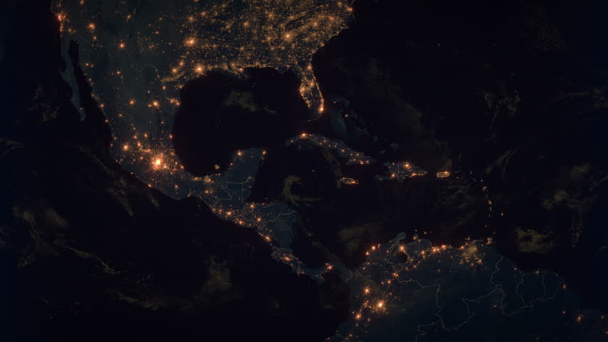 Zoom to the Middle America. The Night View of City Lights. World Zoom Into Middle America - Planet Earth. Political Borders of Middle American Countries: Mexico, Colombia, Venezuela, Cuba, Costa Rica.