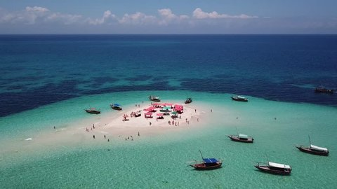 Aerial view of beautiful sand tropical island