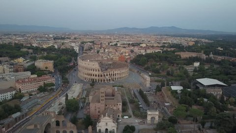 Fori Imperiali aerial View Of Center Of Rome Early Morning Late Afternoon