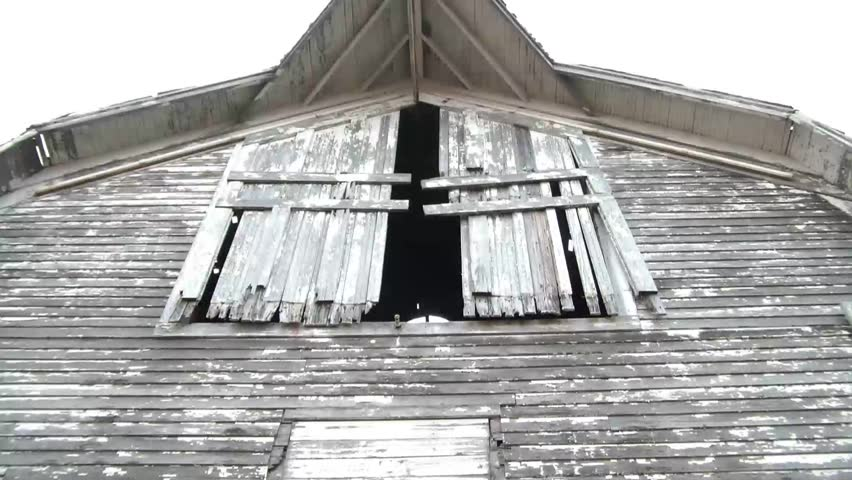 Frightening Hayloft Doors Moving In Wind At Abandoned Barn With Gray Sky Above Diffused Lighting Illuminating Old Wood Siding. Stock Footage Video 3308567 ...  sc 1 st  Shutterstock & Frightening Hayloft Doors Moving In Wind At Abandoned Barn With ... pezcame.com