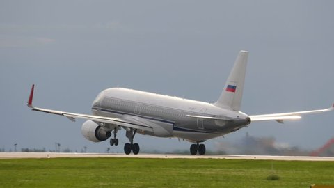 Special colored Retro Airbus A320 takes off at Airport