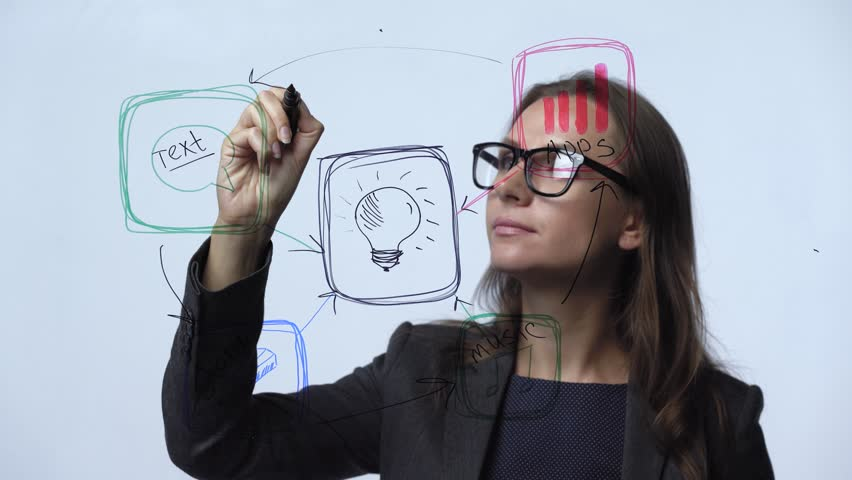 Woman draws various growth charts, calculating prospects for success in a modern glass office | Shutterstock HD Video #33101704
