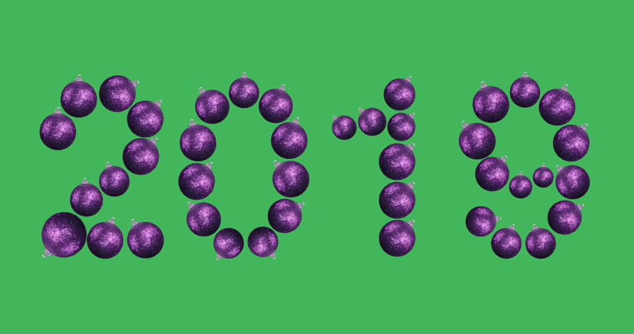 New year 2019. Animated numbers. The symbols of digits consist of rotating purple balls for decorating a Christmas tree. 360 degrees looped rotation shot on green screen. | Shutterstock HD Video #33108388
