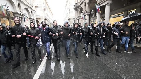 Turin, Italy-May 1, 2017: demonstration protest at the May 1st parade against police and politics in Turin, Italy