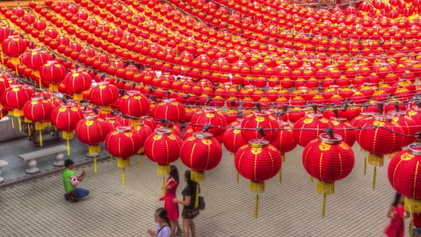 time lapse video of the crowds walking under the traditional chinese red lanterns - Chinese New Year Video