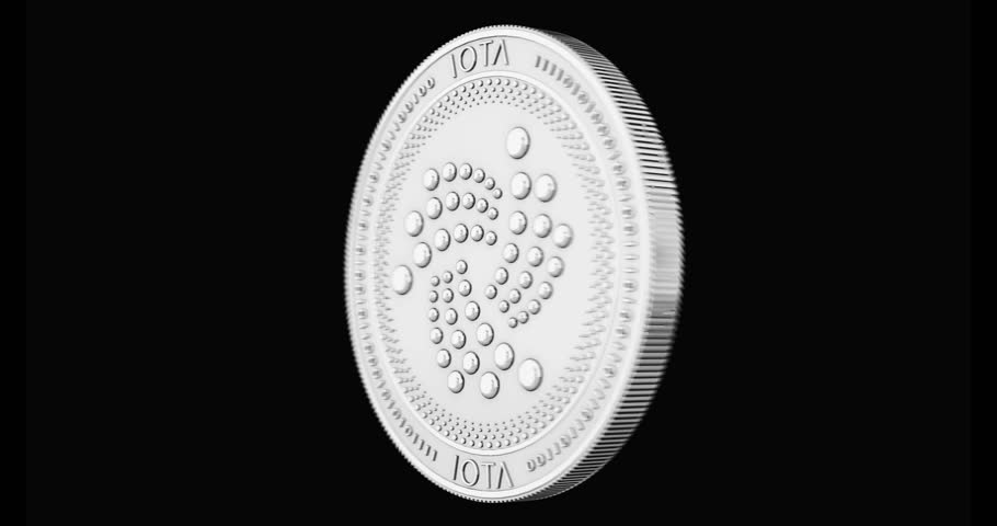 Silver IOTA coin spinning in perfect loop isolated on black background. 4K video. 3D rendering.