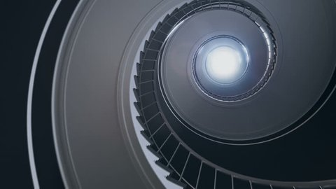 Spiral stair to the light. Seamless loop. 4k rendering.
