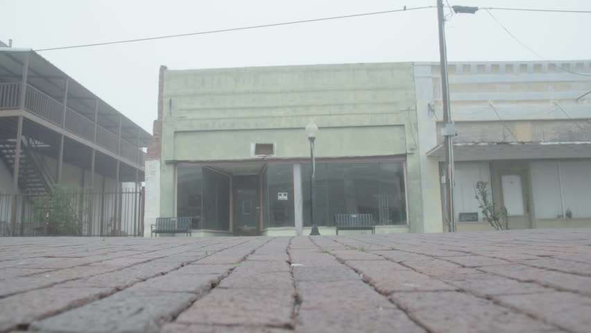 A foggy morning in an almost-abandoned oil town in North Texas, Elektra #33192784