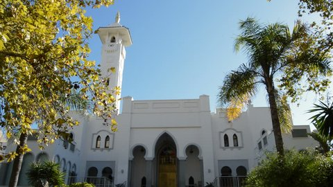 Main facade of Arab mosque a sunny day in Fuengirola, Spain
