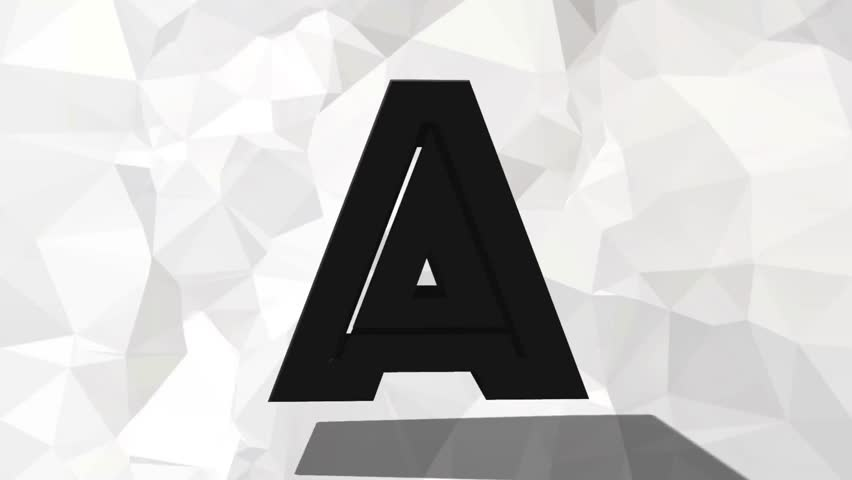 Black Grey Rotating 3d Letter Alphabet On White Triangle Wallpaper Background