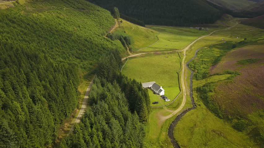 Aerial photograph of heather fields with sheep and mountains in Scotland.