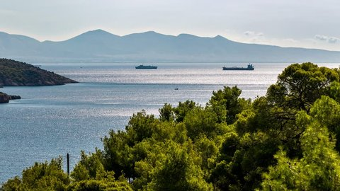 4K Timelapse at Salamina Island, wind & boats