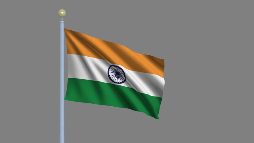 Indian Animated Flag Waving: Indian Flag, With Real Structure Of A Fabric Stock Footage