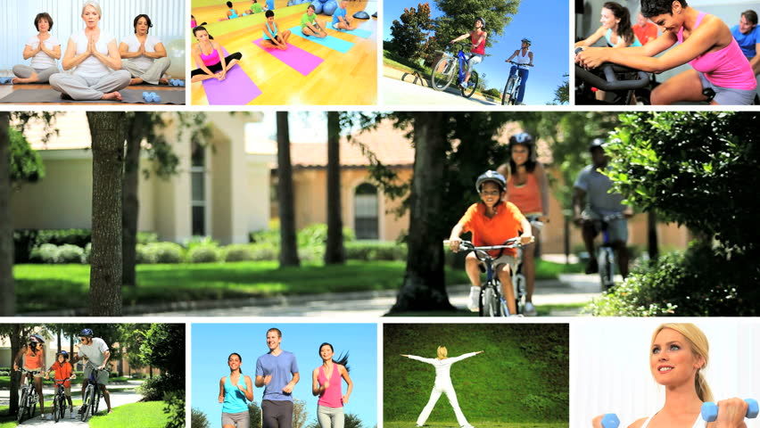 Montage images young people, seniors and families enjoying physical exercise yoga indoors and outdoors | Shutterstock HD Video #3326054