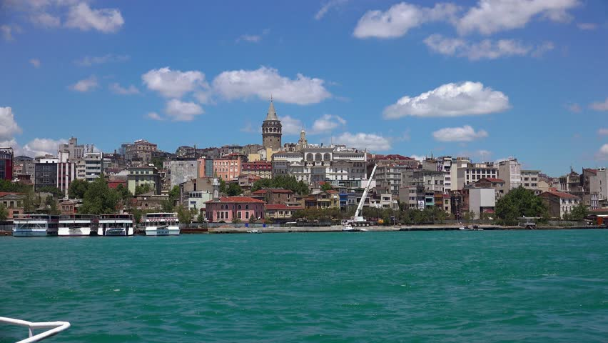 Galata Tower in Istanbul. Turkey. Shot in 4K (ultra-high definition (UHD)).