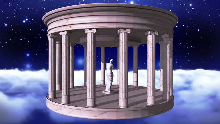 Space scene with a marble greek temple and the goddess Venus of Milo