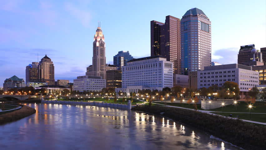 Night to day timelapse of Columbus, Ohio city center 4K