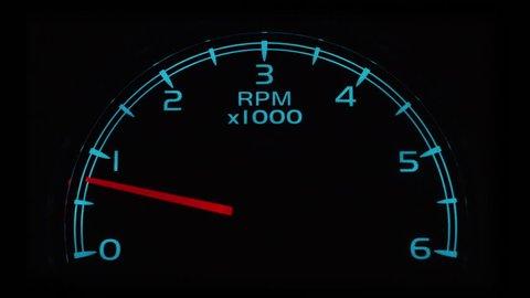 Tachometer/RPM gauge revving, closeup