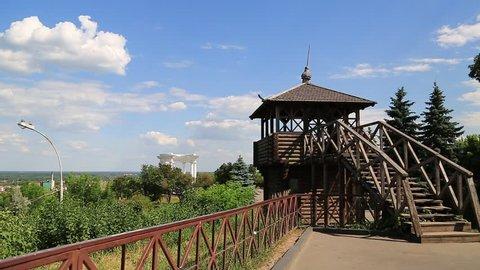 Reconstruction of Poltava fortress in 18 century. Poltava - city located on Vorskla River in central Ukraine