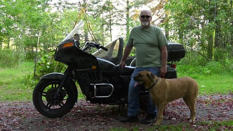 mastiff dog sidecar rider and motorcycle owner standing interview in front of bike