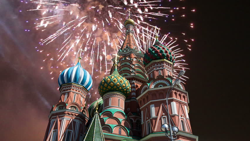 Cathedral of Intercession of Most Holy Theotokos on the Moat ( Temple of Basil the Blessed) and fireworks,  Red Square, Moscow, Russia