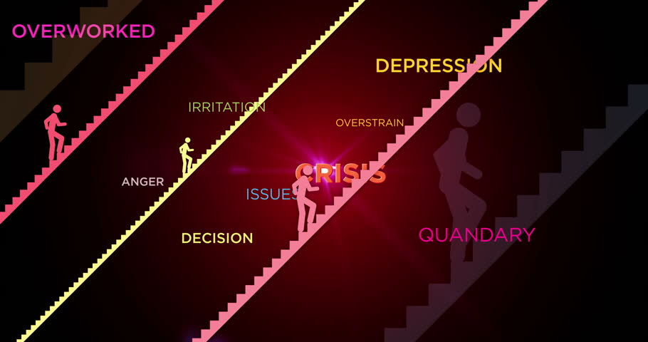 Stress, crisis, tired and problems concept loopable animation. The silhouettes of people climbing the stairs between words 3D. Metaphor of pressure, irritation, issues and tiredness.