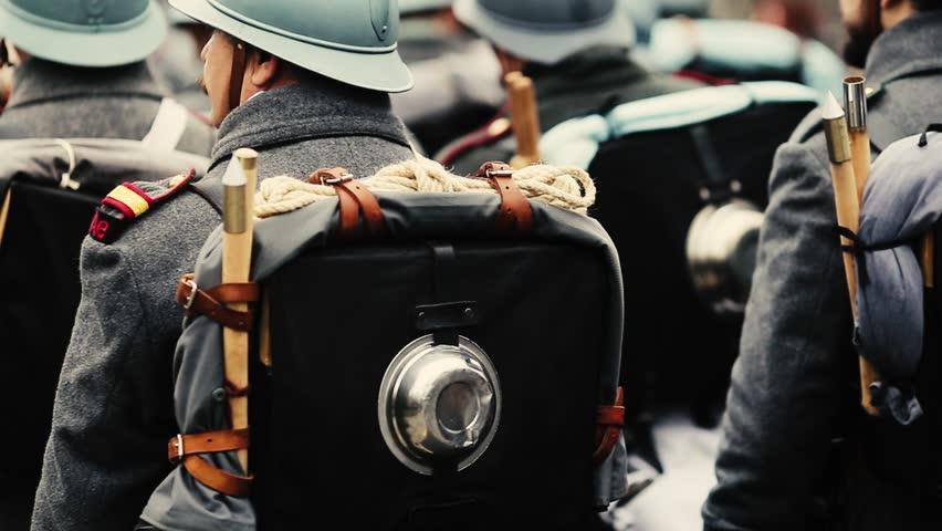 WWI reenactors take part at a military parade