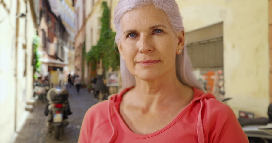 Mature European Woman Outdoor She Looks Around Herself -9192