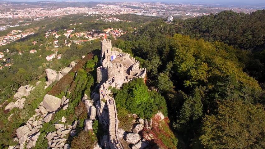 Moorish Castle (Castelo dos Mouros) and Sintra cityscape, near Lisbon, Portugal, aerial view.