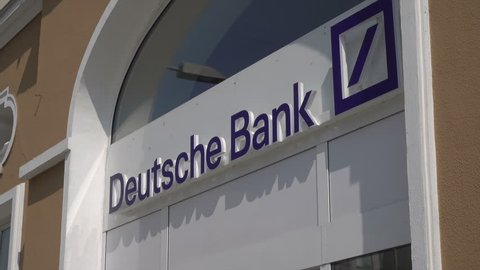 PASSAU, BAVARIA/GERMANY - SEPTEMBER 09, 2017: Deutsche bank entrance. The bank is a German global banking and financial services company.