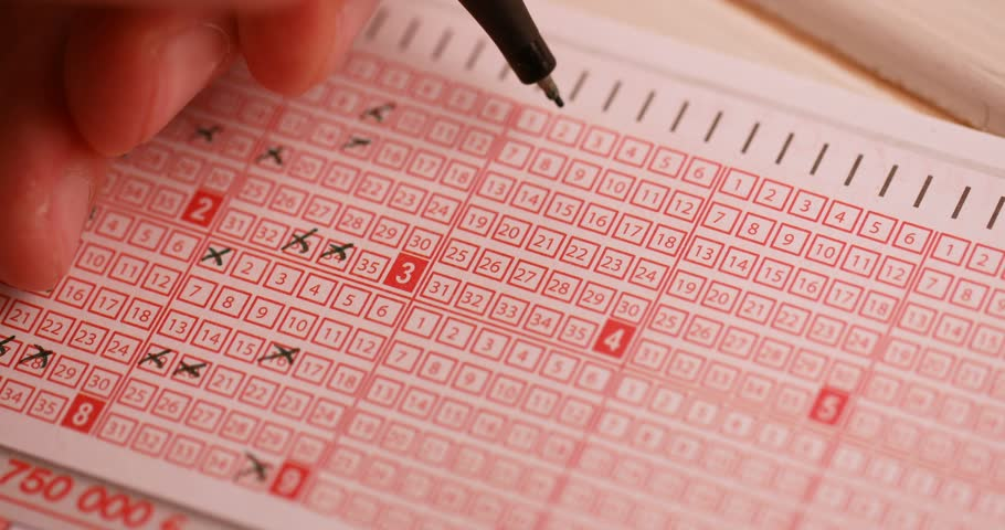 fill out a lottery ticket hand with pen cross out numbers