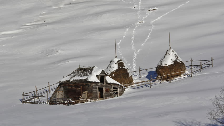 Traditional rural household in winter