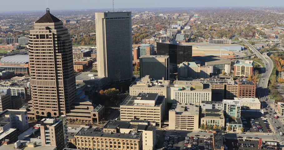 Aerial view of Columbus, Ohio 4K