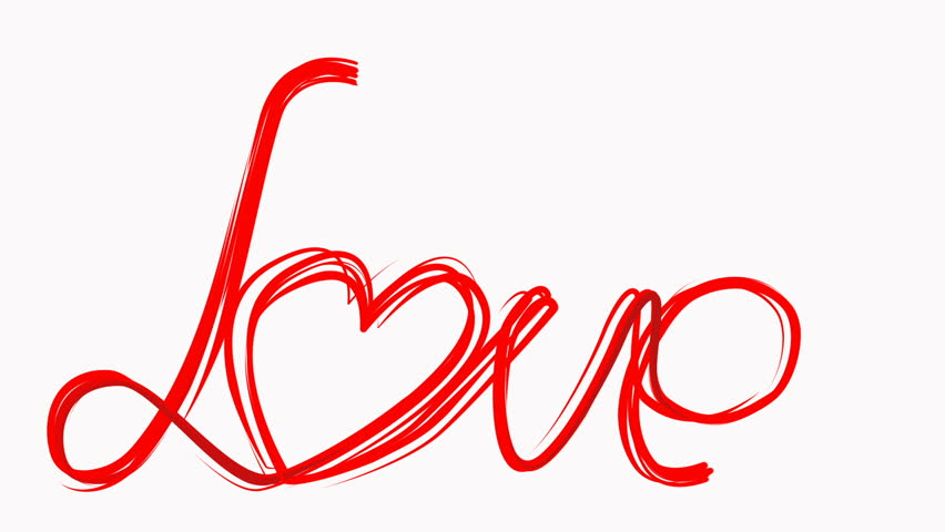 Hand Draw Love Word Paint Brush Animation Red Color Heart At White Background Concept For Valentines Day Wedding Cele Tion Greeting Loopable