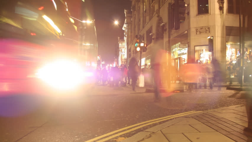 timelapse of oxford st in london, during shopping night. Similar clips available