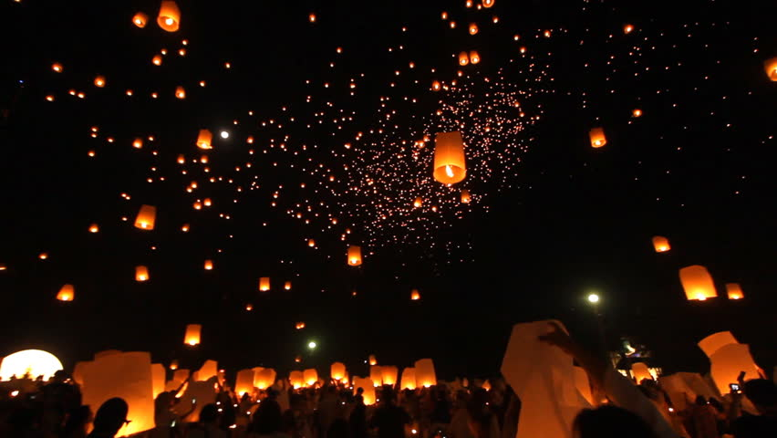 Release floating lanterns to the sky , Lantern festival #33564004