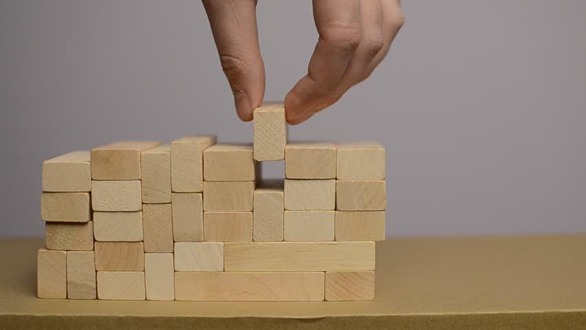 Wooden puzzles blocks