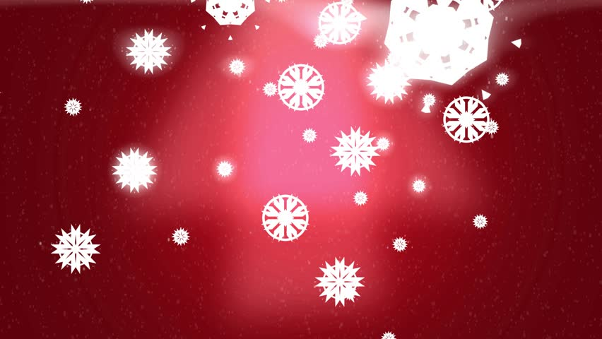 Red Glowing Snowflake Holiday Winter Background