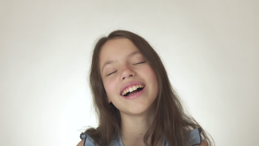 A Cute Young Girl Do Happy Facial Expression On White -2743