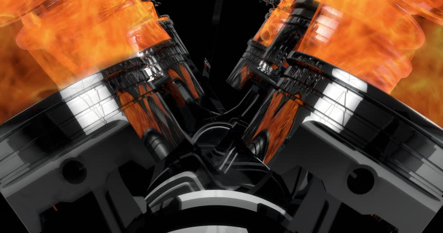 Slow Motion Close Up Working V8 Engine Animation With Explosions - Loop | Shutterstock HD Video #33590734
