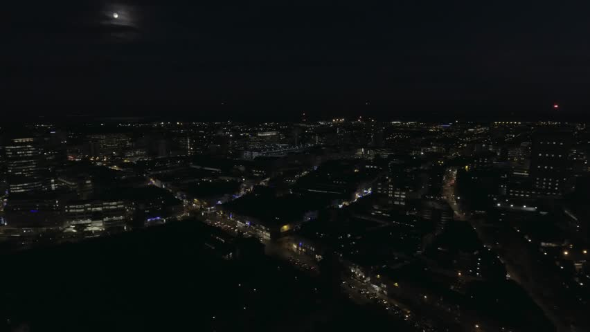 Cardiff city centre at night aerial shot.