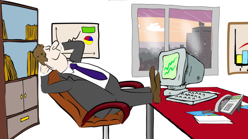 Cartoon Of Businessman Relaxing At Stock Footage Video 100 Royalty Free 3361934 Shutterstock