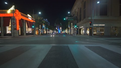 Los Angeles, CA, USA - CIRCA 2017: Beverly Hills Rodeo Drive Night Driving Plate 02 South Bound
