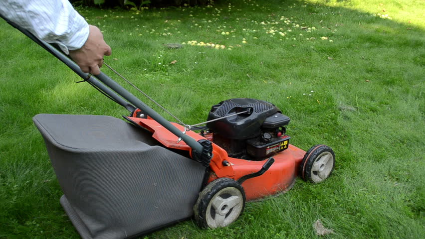 man gardener worker start grass lawn cutter mower on meadow.