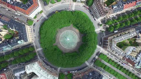 Aerial of the Karlaplan Park, Square and Fountain, in the city of Stockholm, Sweden.