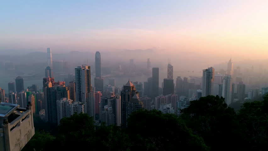 Victoria peak at Hong Kong in the morning | Shutterstock HD Video #33668644